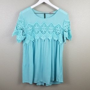 Jodifl Blue Crochet Short Sleeve Blouse Medium